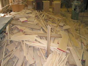 A huge pile of yellow wood and meranti, waiting to be burnt