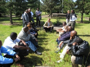 Jorg explaining industrial heritate to a group of South Africans in 2008
