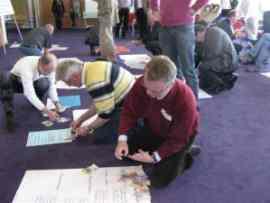 Participants exploring a topic visually